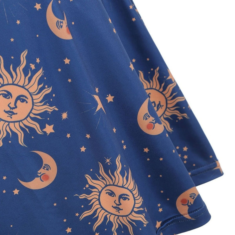Women Starry moon pattern Printed O-Neck Sleeveless Dress - SunLify