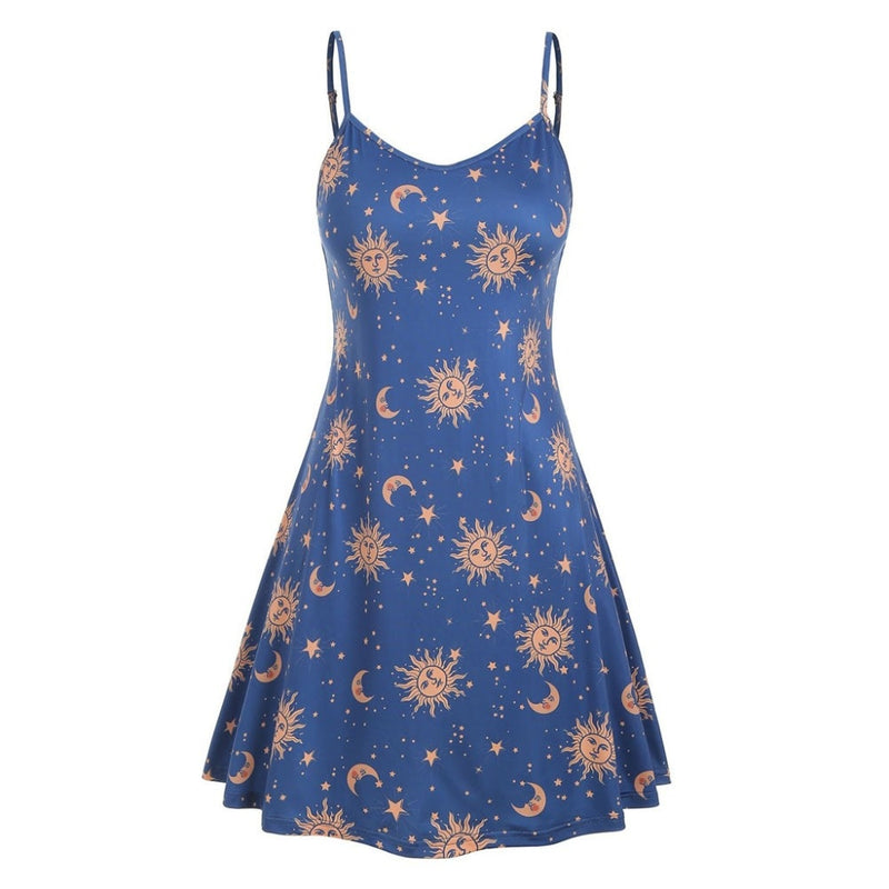 Buy Cheap Women Starry moon pattern Printed O-Neck Sleeveless Dress Online - SunLify