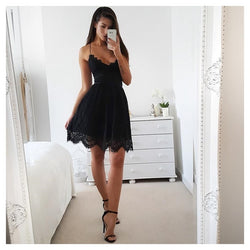 Summer Party Dress Sexy White Pink Deep V Neck Backless Lace Short Dress Women Casual Bandage Spaghetti Strap Sleeveless - SunLify