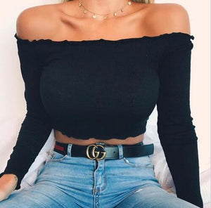 Buy Cheap Summer Women Off Shoulder Tank Tops Slim Sleeve Off Shoulder Crop Tops Online - SunLify