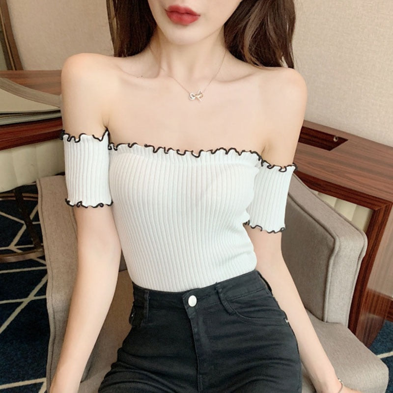 Buy Cheap Summer Off Shoulder T-shirts Top Online - SunLify