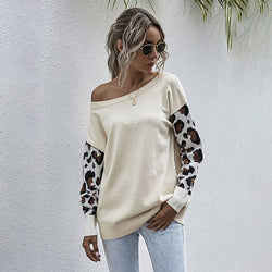 Sweater Autumn Winter Patchwork Leopard Long Sleeve Knit Womans Clothes Loose Pullover Sweaters For Women  Fall Fashion Tops - SunLify
