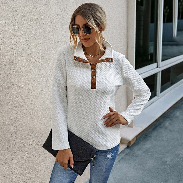 Buy Cheap Sweatshirt Autumn Winter Clothes Women Casual Black Stitching Button Pocket Patchwork Top Fall Fashion Pullover Sweatshirts Online - SunLify