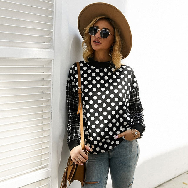 Sweatshirt Women Autumn Winter Long Sleeve Plaid Stitching Pockets Black Pullover Polka Dot Crewneck Tops Fall Fashion Clothes - SunLify