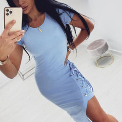Tshirt Long Dress Summer Womens Blue Bandage Side Split Clothing Ladies Grey Tight Bodycon Midi  Dresses For Women Summer - SunLify