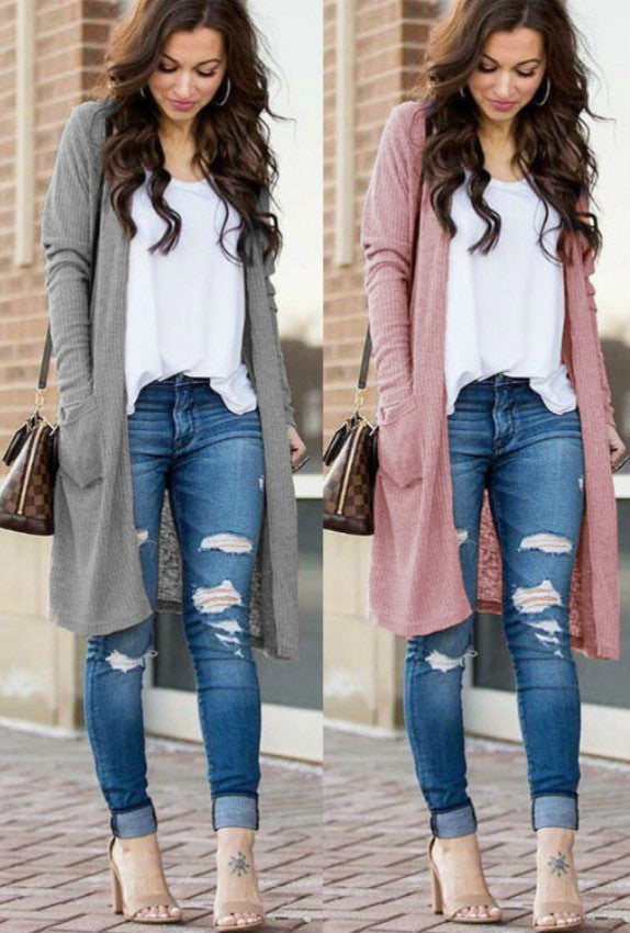 Casual Knitted Long Cardigan Female Loose Sweater Women Coat - SunLify