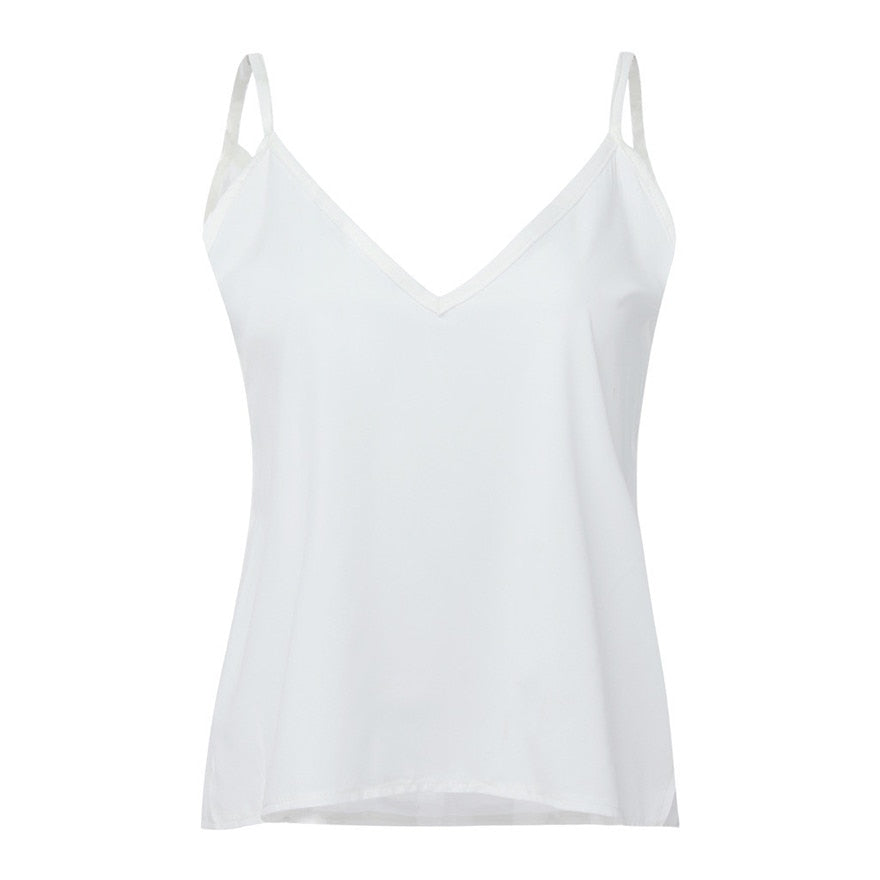 Buy Cheap White  Chiffon Tops Fashion Women Solid V-Neck Loose Backless Crop Top Online - SunLify