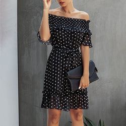 White Dress Elegant Summer Off The Shoulder Women Sexy Backless Strapless Polka-dot Ruffle Sundresses Black Fitted Clothing - SunLify