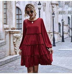 Woman Dress Autumn Spring Ruffle Ruched Cake Clothes Casual Pure Long Sleeve Loose Fit Knitted Womens Dresses Fall  Fashion - SunLify