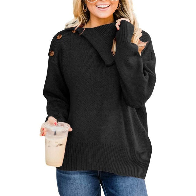 Woman Knit Sweaters Warm Autumn Winter Long Sleeve Black Womens Clothes Tops Casual Button Up Basic Pullover Sweater Fall - SunLify