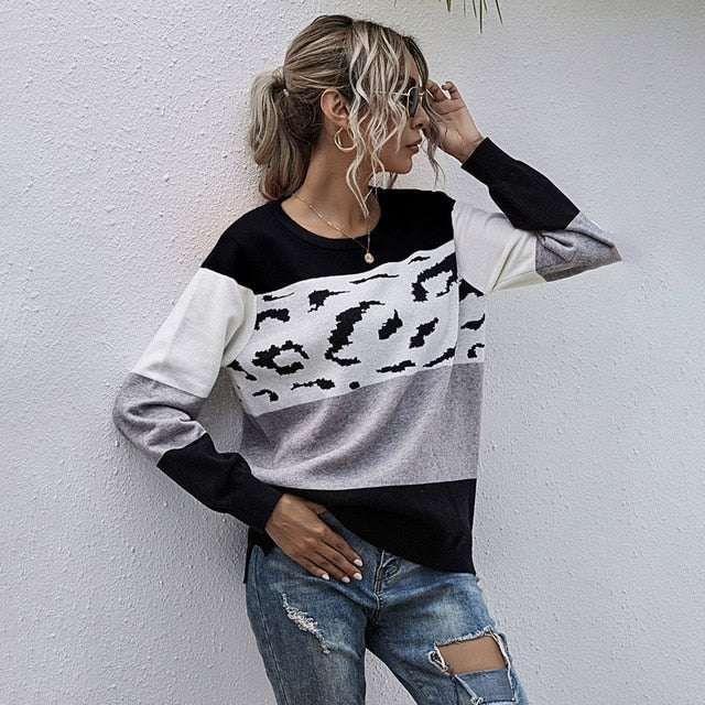 Buy Cheap Woman Sweaters Autumn Winter Patchwork Leopard Green Long Sleeve Loose Pullover Knitted Sweater Tops Fall  Womens Clothes Online - SunLify