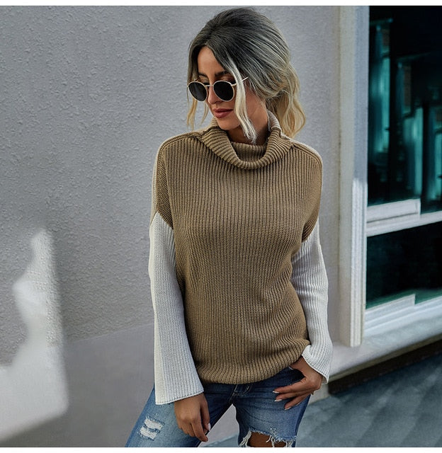 Buy Cheap Woman Sweaters Casual Autumn Winter Long Sleeve Striped Print Tops Black Turtleneck Knit Pullover Sweater  Womens Clothes Online - SunLify