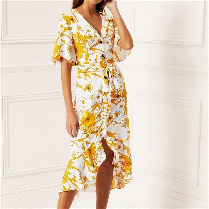 Buy Cheap Women Floral Print Beach Dress Boho Short Sleeve Ruffle Long Dress Online - SunLify