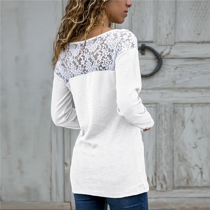 Buy Cheap Women Lace Blouse Casual Long Sleeve Tunic O-Neck Patchwork Blouses Online - SunLify