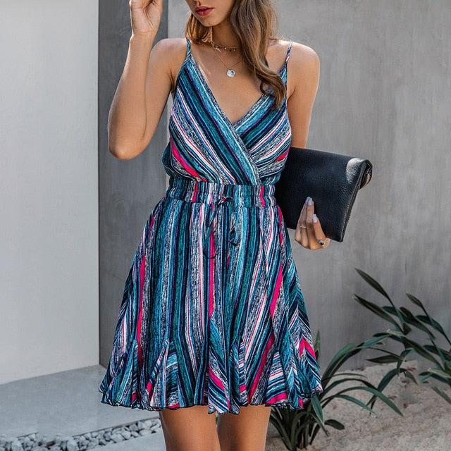 Buy Cheap Women Slip Dress Vintage Striped Color Print Summer Backless Ruffle Mini Short Dresses Retro Ladies Party Fitted Clothing Online - SunLify