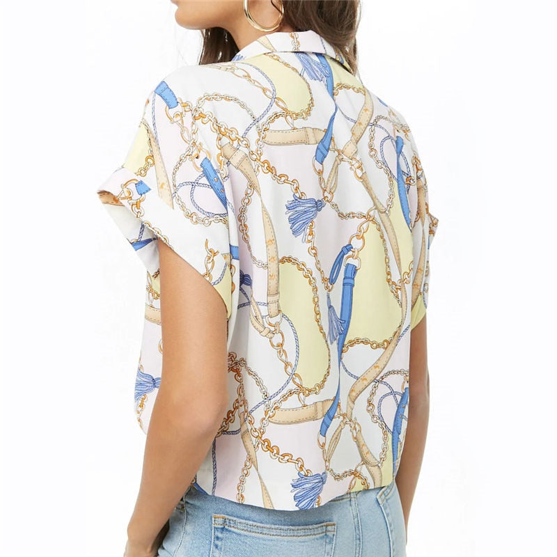 Buy Cheap Women Summer Blouse Print  Short Sleeve Chiffon   Shirt Loose Tops Online - SunLify