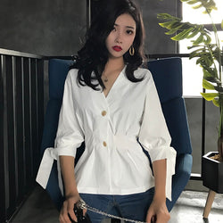 Buy Cheap Women Tops Casual Office Shirt Bow Ladies Chemise  Wrap Button Blouse Online - SunLify
