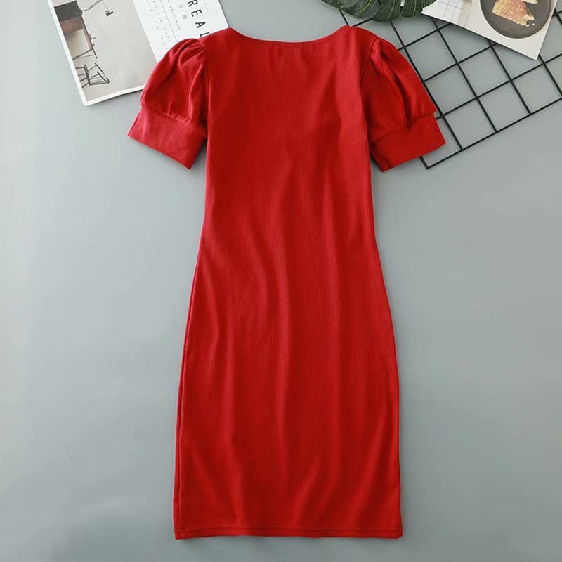 Buy Cheap Women's Casual Summer Short Sleeve Puff Sleeve Mini Dress Square Neck Online - SunLify