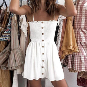 Buy Cheap Front-breasted White Elastic Waist Sling Strap Dress Online - SunLify