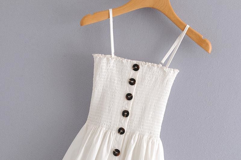 Front-breasted White Elastic Waist Sling Strap Dress - SunLify