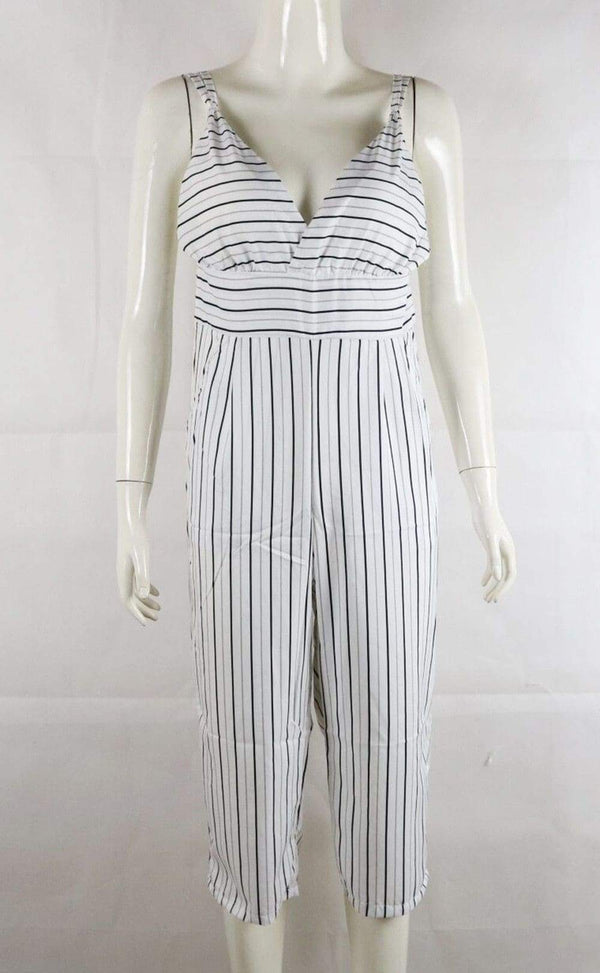 Casual Print Rompers Womens Jumpsuit Striped Women Clothes - SunLify