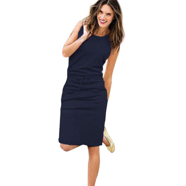 Womens Holiday Sleeveless Pockets With Belt Pencil Dress - SunLify