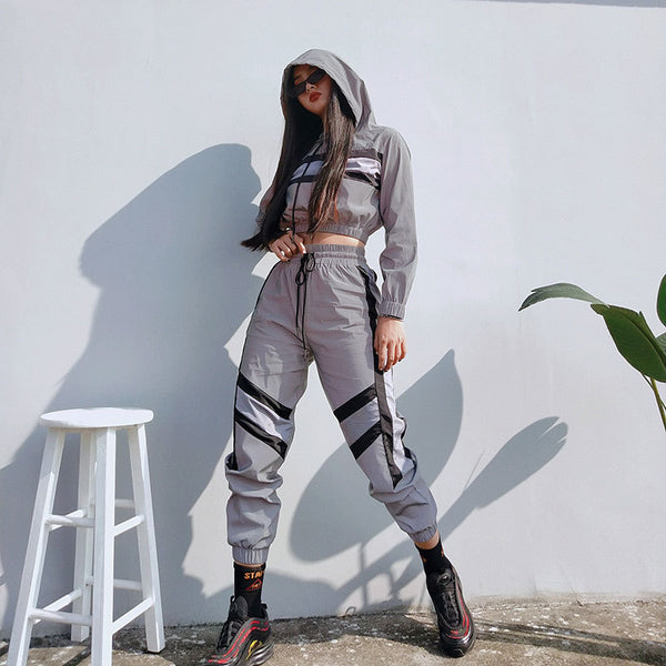 Buy Cheap Silver Reflective Color Block Sports Hoodie Pants Suit Set Online - SunLify