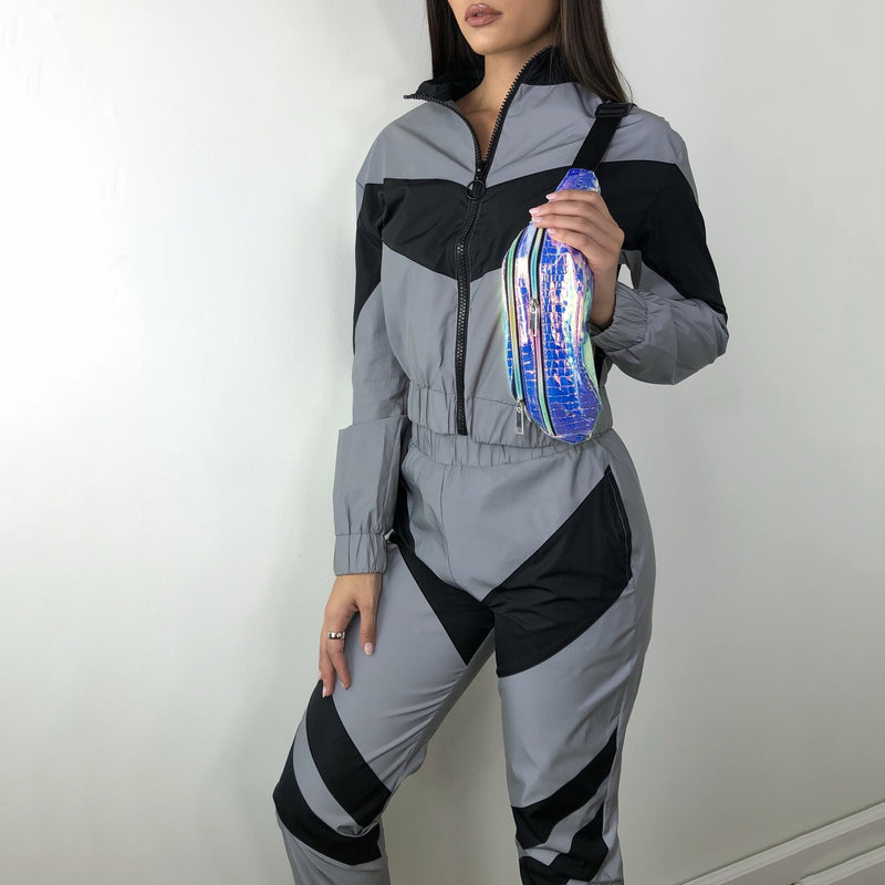 Silver Black Reflective Color Block Sports Hoodie Pants Suit Set - SunLify