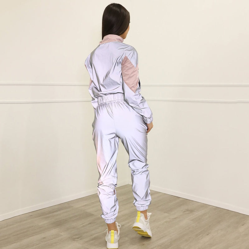 Buy Cheap Silver Black Reflective Color Block Sports Hoodie Pants Suit Set Online - SunLify