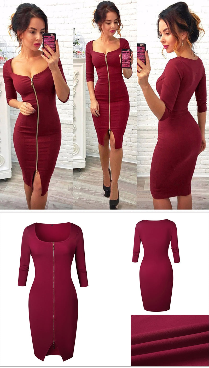 Buy Cheap Black Bodycon Dress with Sexy Gold Zipper Online - SunLify