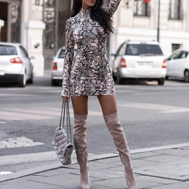 Long Sleeve Leopard Snakeskin Print Mini Bodycon Party Dress - SunLify