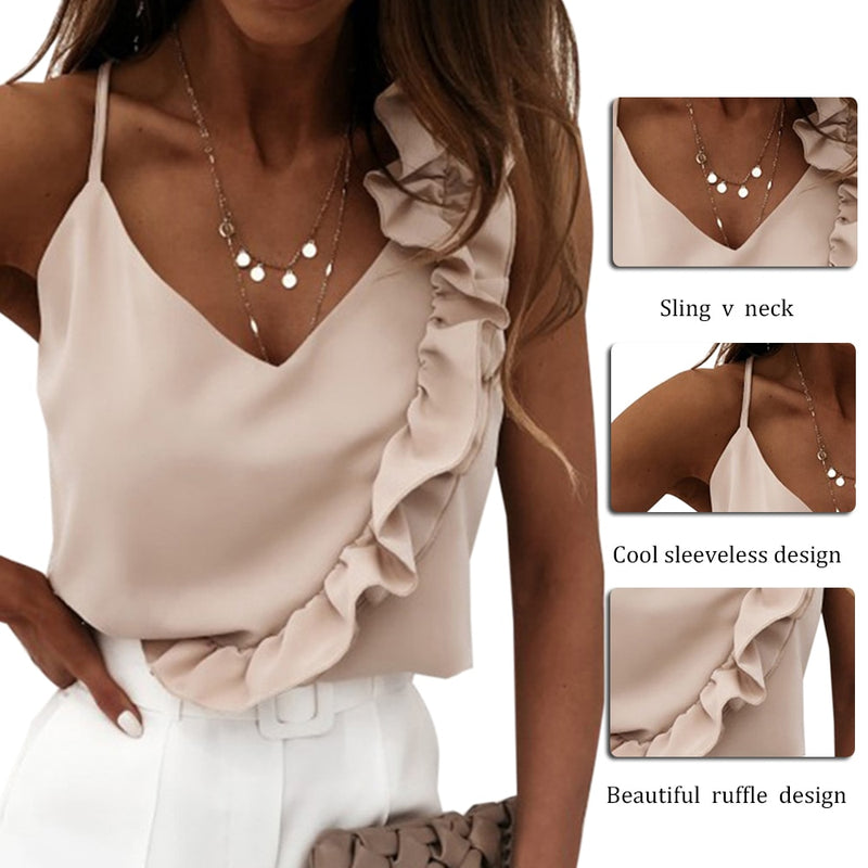 Summer Blouse Shirts Sexy V Neck Ruffle Blouses Backless Spaghetti Strap Office Ladies Sleeveless Casual Tops - SunLify