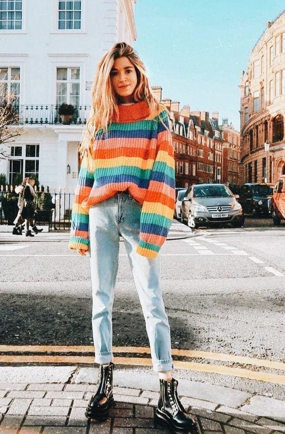 Buy Cheap Rainbow Turtleneck Sweaters Women Fashion Striped Oversized Pullover Online - SunLify