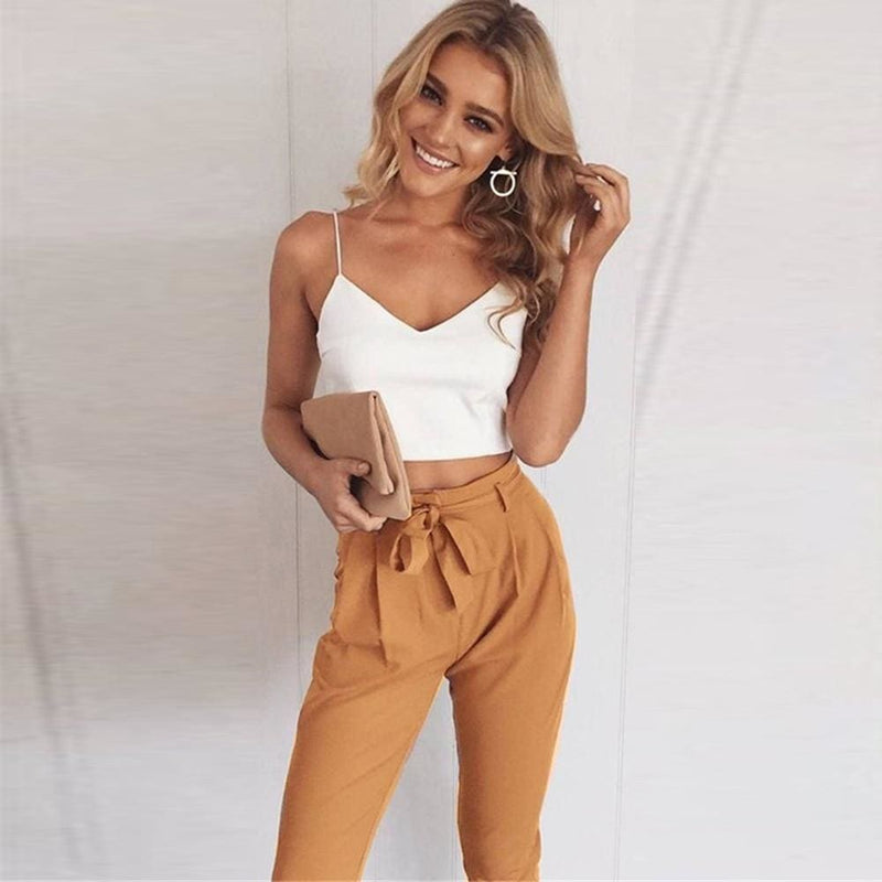 Women 2 Piece Set Spaghetti Straps Short Top and Khaki Pants - SunLify