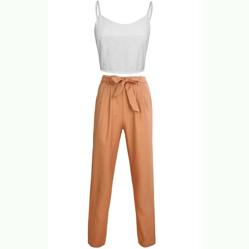 Buy Cheap Women 2 Piece Set Spaghetti Straps Short Top and Khaki Pants Online - SunLify