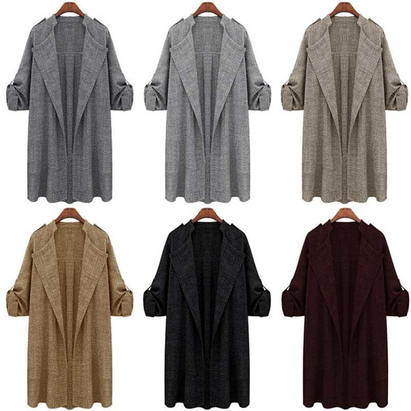 Women Jacket Ladies Long Overcoat Waterfall Cardigan Plus Size - SunLify