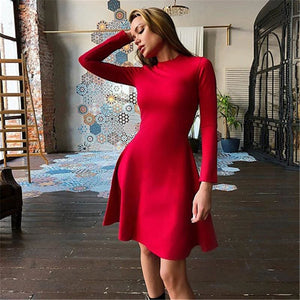 Buy Cheap Women Long Sleeve Bodycon O-neck Casual Dress Online - SunLify