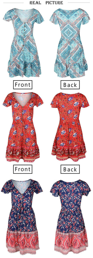 Buy Cheap A-Line Bohemian Floral Dress Sexy V-neck Short Sleeve Mini Dress Online - SunLify