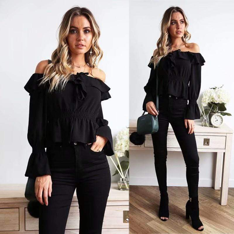 Blouse Women Off Shoulder chiffon blouse Slim Slash Neck Ruffle Shirt - SunLify