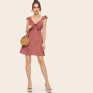 Buy Cheap Boho Ditsy Floral Knot Neck Ruffle Trim Summer Dress Online - SunLify