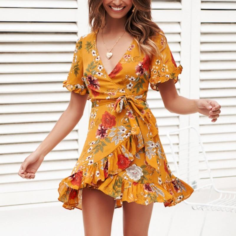 Buy Cheap Chiffon Mini Dress Women Boho Style Floral Print Summer Beach Dress Online - SunLify