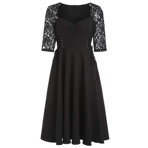 Buy Cheap Criss Cross Lace Sleeve Retro Flare Dress Online - SunLify