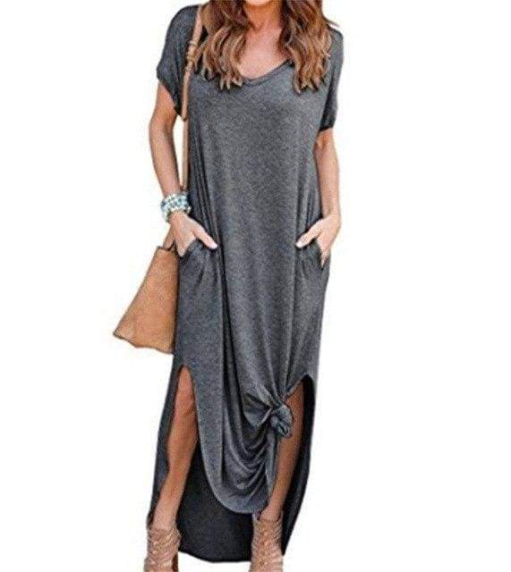 Buy Cheap Fashion Casual Cotton Dress Women Robe Jurken V-Neck Streetwear Loose Online - SunLify