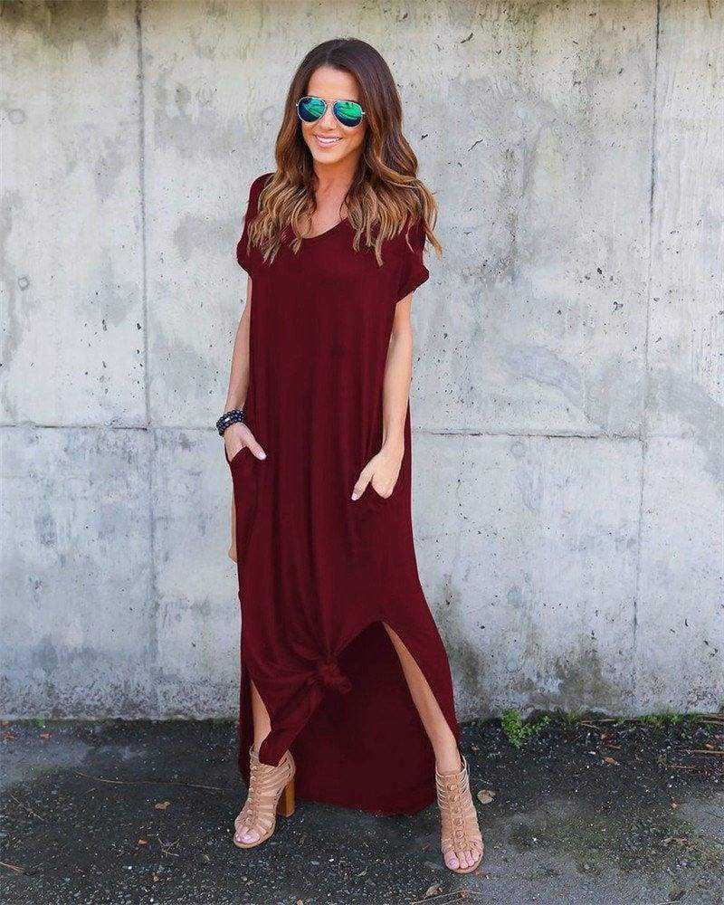 Fashion Casual Cotton Dress Women Robe Jurken V-Neck Streetwear Loose - SunLify