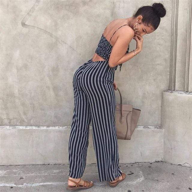 Buy Cheap Elegant Striped Spaghetti Strap Rompers Casual Wide legs Jumpsuits Online - SunLify