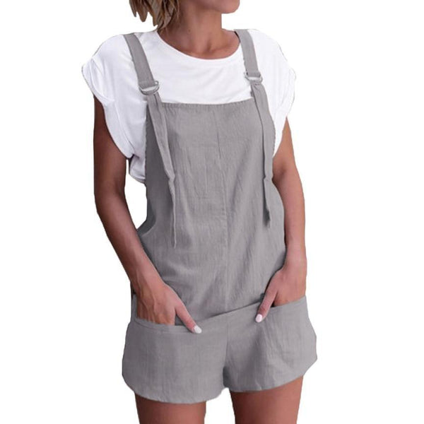 Jumpsuit for women Linen pockets Rompers Playsuit Shorts Pants - SunLify