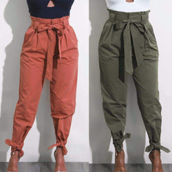 Casual Long Trousers Women Summer Pencil Pants Three Bow Band - SunLify