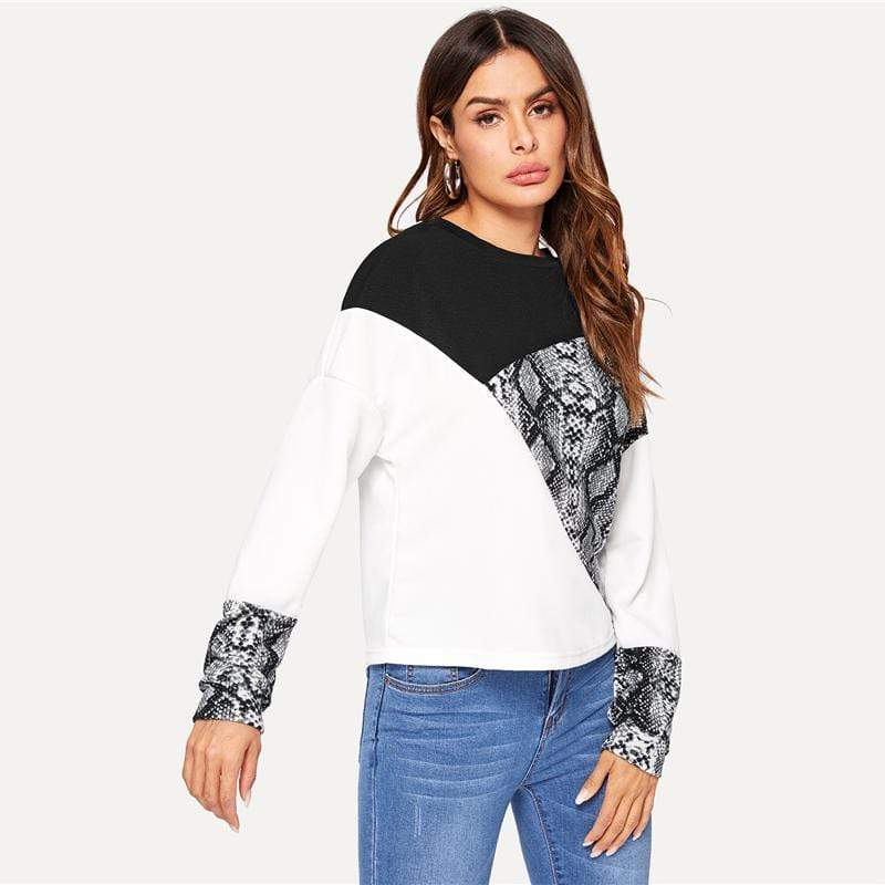 Buy Cheap Color Block Long Sleeve Pullovers Women Multicolor Sweatshirts Online - SunLify