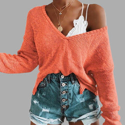 Irregular Crop Top Sweater Women Slim Pullovers V Neck Jumper Sweater - SunLify