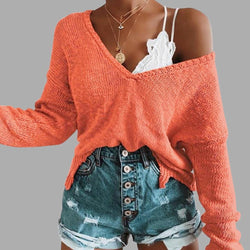 Buy Cheap Irregular Crop Top Sweater Women Slim Pullovers V Neck Jumper Sweater Online - SunLify